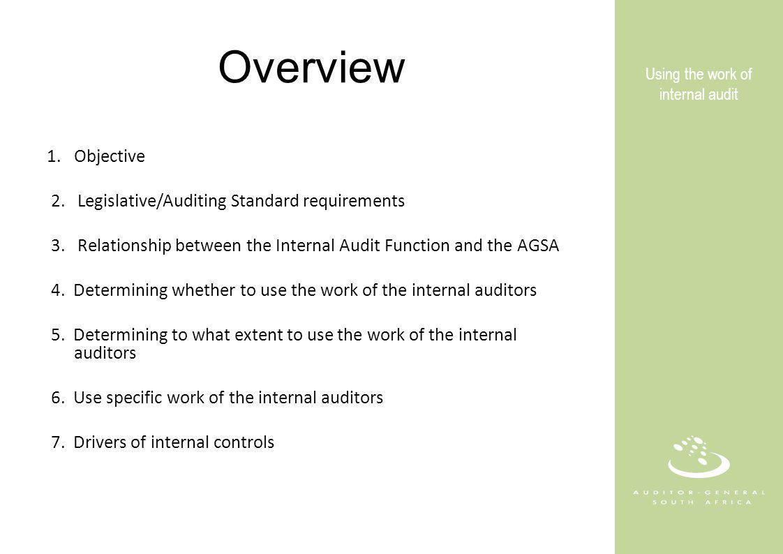 Overview 1.Objective 2. Legislative/Auditing Standard requirements 3.