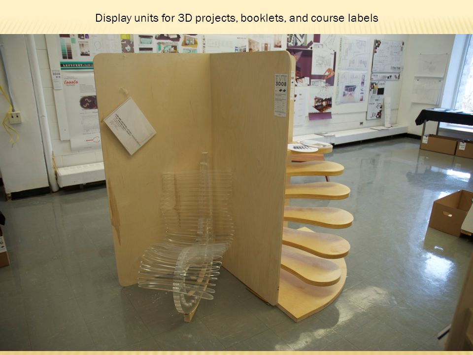 Display units for 3D projects, booklets, and course labels