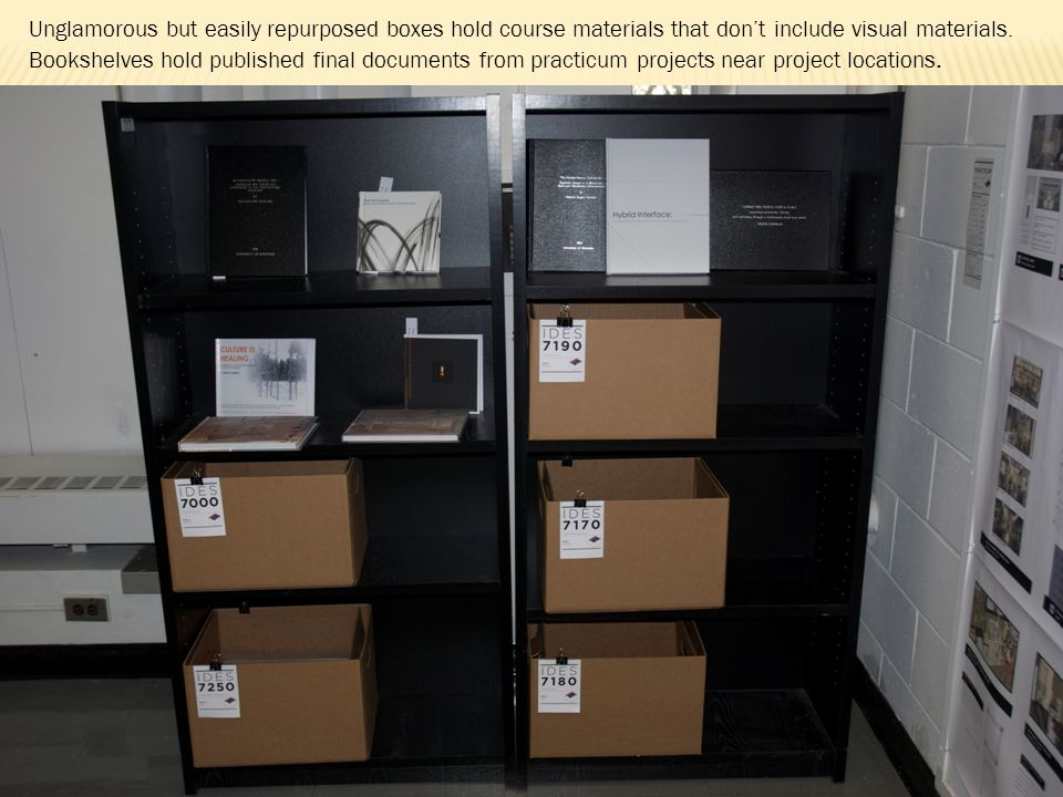 Unglamorous but easily repurposed boxes hold course materials that dont include visual materials.
