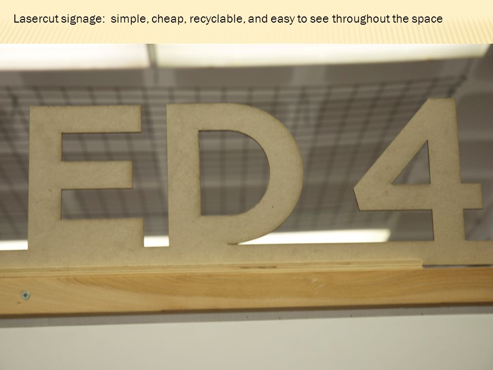Lasercut signage: simple, cheap, recyclable, and easy to see throughout the space