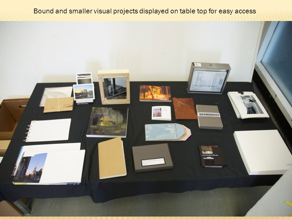 Bound and smaller visual projects displayed on table top for easy access
