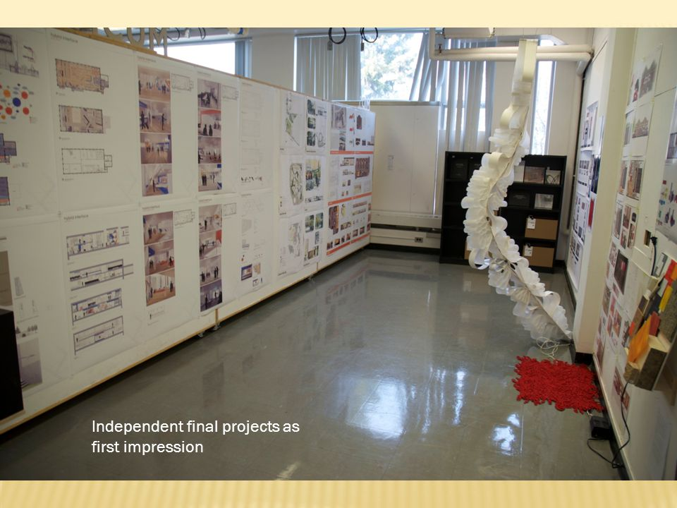 Overall layout with flat files (for extra projects) and vertical surfaces for project display
