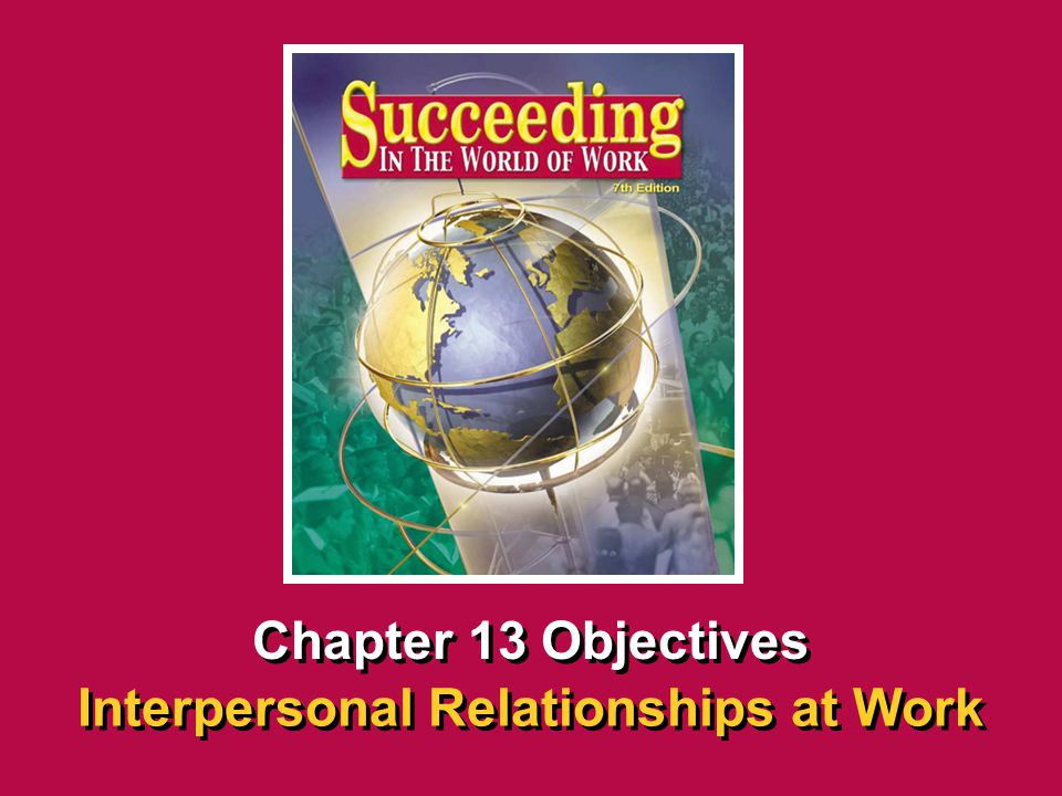 Chapter 13 Interpersonal Relationships at Work SECTION OPENER / CLOSER INSERT BOOK COVER ART Chapter 13 Objectives Interpersonal Relationships at Work