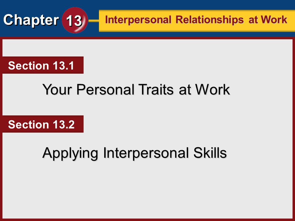 Chapter 13 Interpersonal Relationships at Work Coworkers and employers will base their opinions of you on the behaviors and attitudes you display in the workplace.
