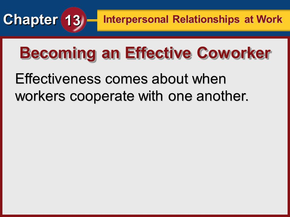 Chapter 13 Interpersonal Relationships at Work Effectiveness comes about when workers cooperate with one another. Becoming an Effective Coworker