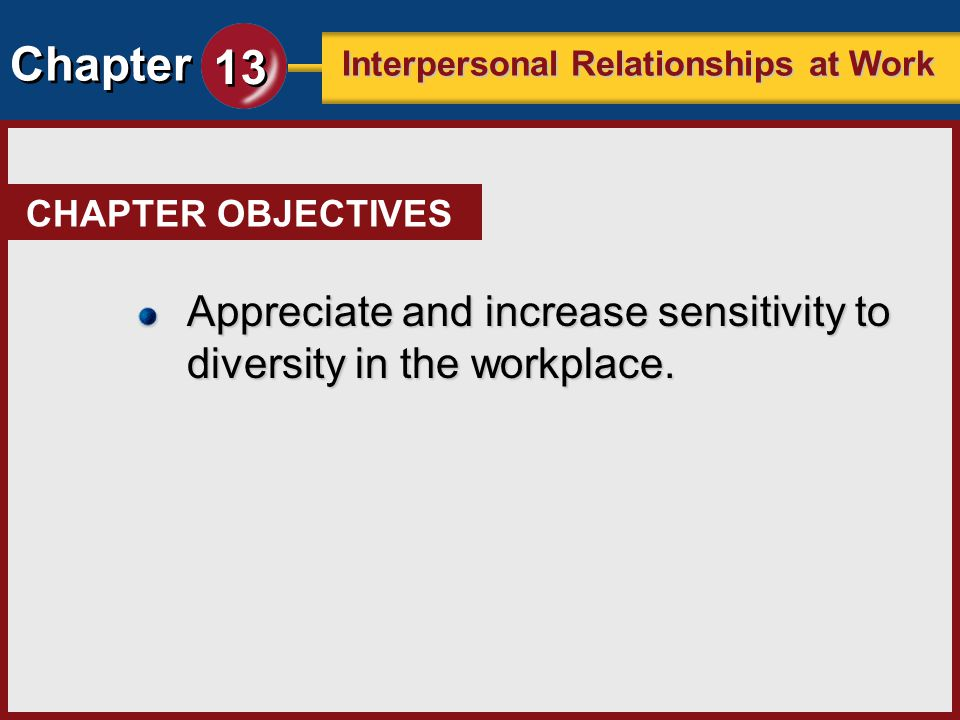 Chapter 13 Interpersonal Relationships at Work CHAPTER OBJECTIVES Appreciate and increase sensitivity to diversity in the workplace.