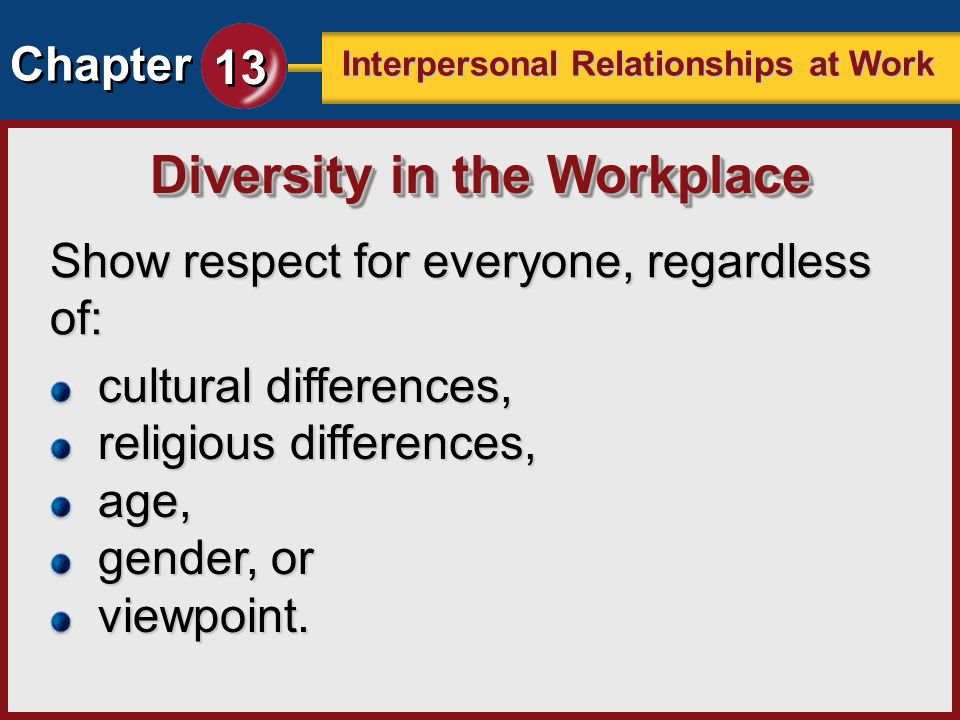 Chapter 13 Interpersonal Relationships at Work Show respect for everyone, regardless of: Diversity in the Workplace cultural differences, religious di