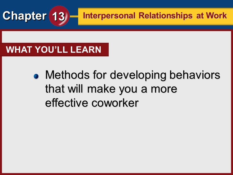 Chapter 13 Interpersonal Relationships at Work Key Concept Checkpoint Comprehension 1.Describe a situation in which you effectively applied important personal qualities.