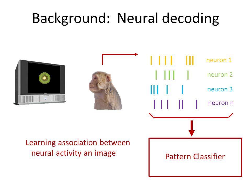 Background: Neural decoding neuron 1 neuron 2 neuron 3 neuron n Pattern Classifier Learning association between neural activity an image