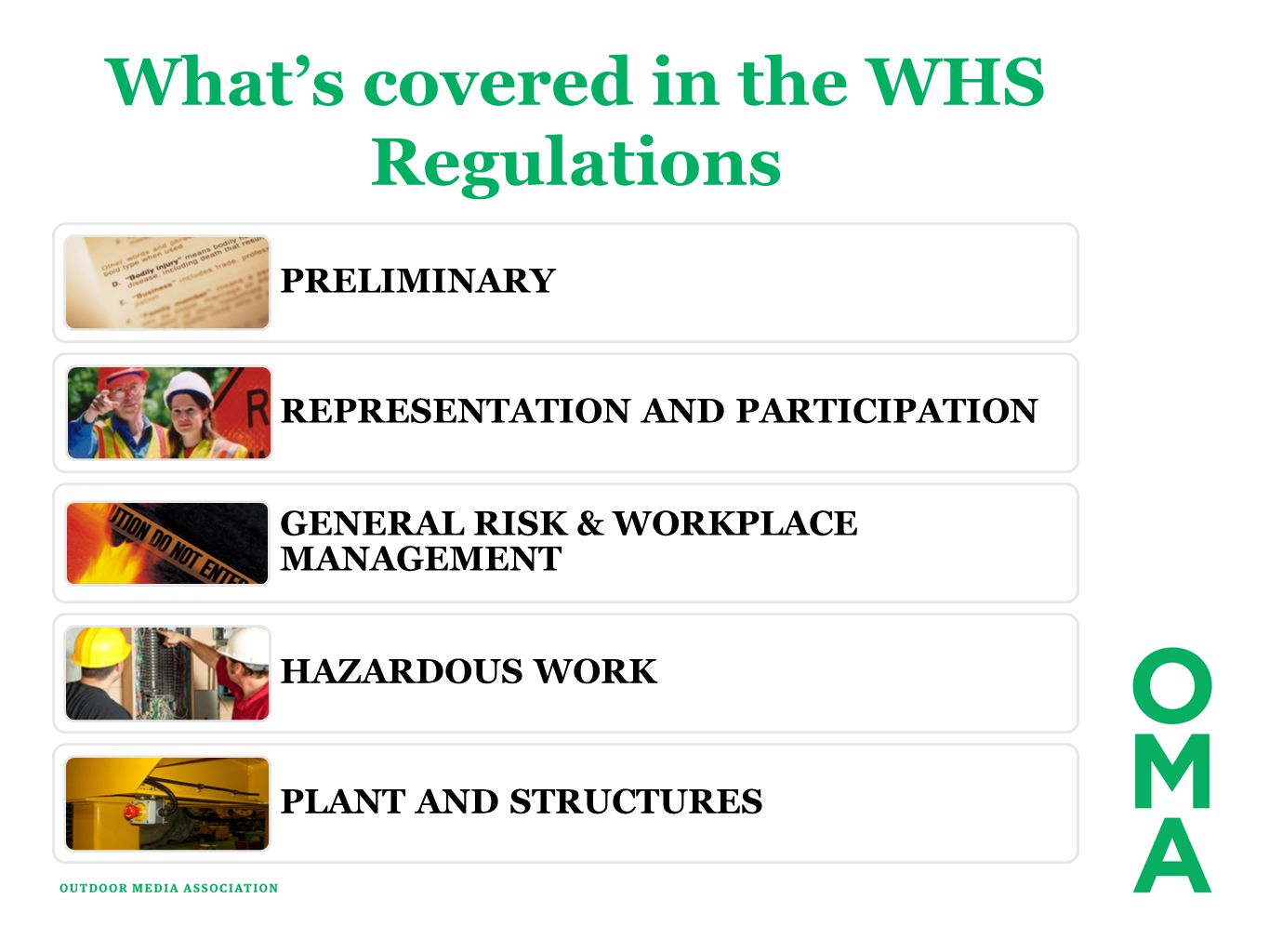 Whats covered in the WHS Regulations PRELIMINARY REPRESENTATION AND PARTICIPATION GENERAL RISK & WORKPLACE MANAGEMENT HAZARDOUS WORK PLANT AND STRUCTU