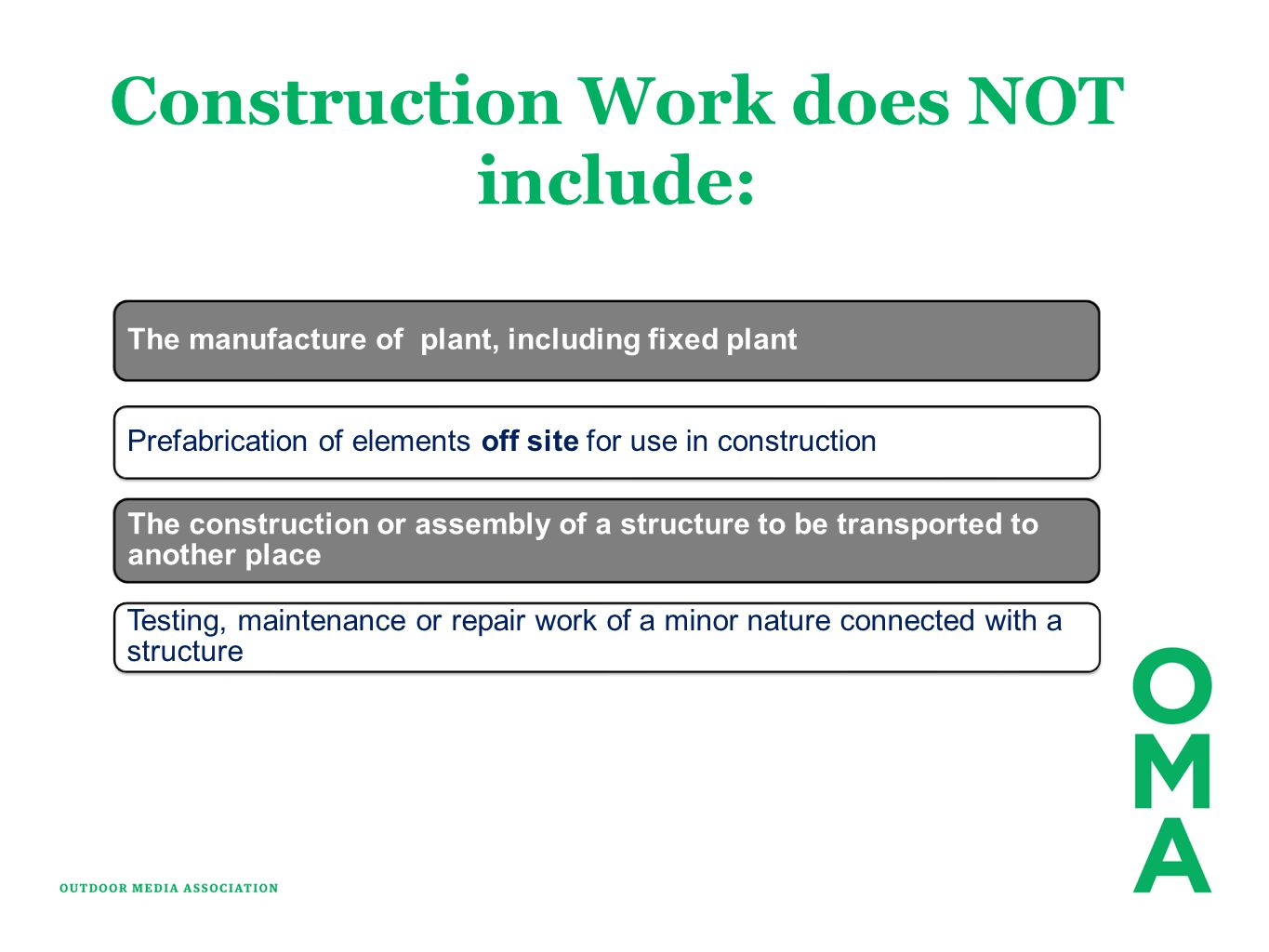 Construction Work does NOT include: The manufacture of plant, including fixed plant Prefabrication of elements off site for use in construction The co