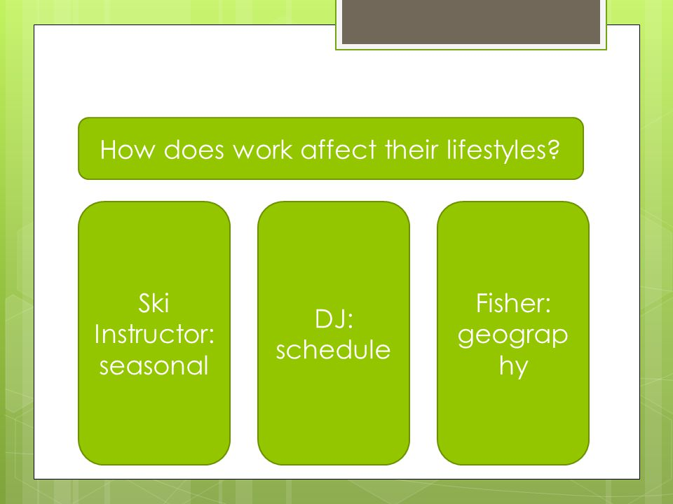 Comparing Jobs & Lifestyle How does work affect their lifestyles.