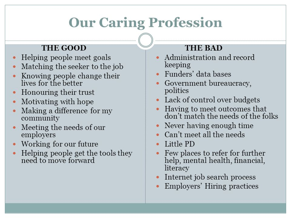 Our Caring Profession THE GOOD Helping people meet goals Matching the seeker to the job Knowing people change their lives for the better Honouring the