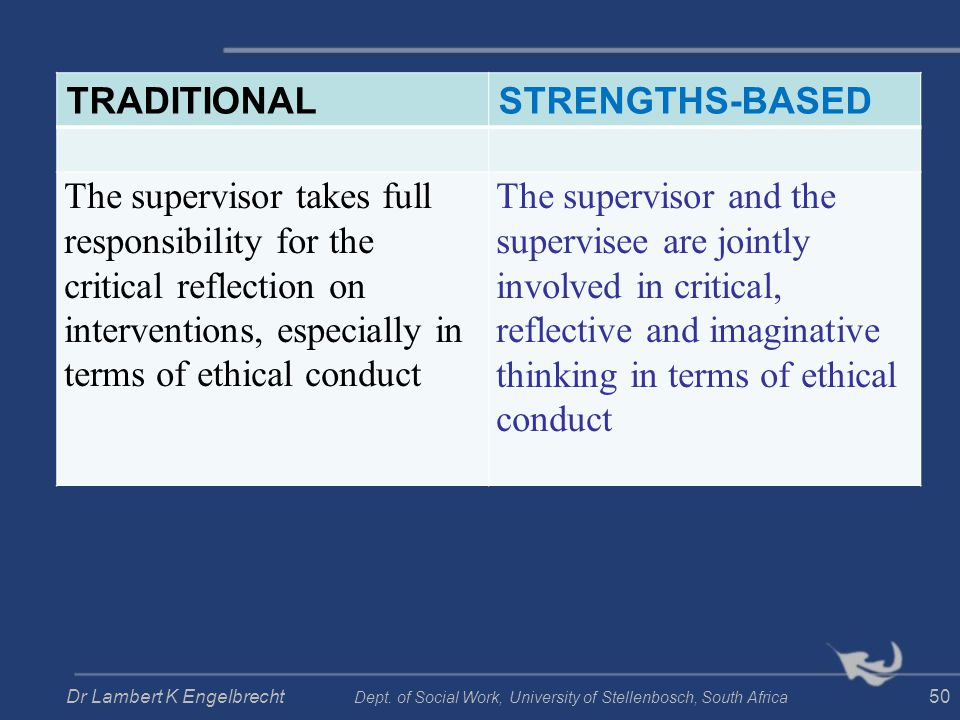 TRADITIONALSTRENGTHS-BASED The supervisor takes full responsibility for the critical reflection on interventions, especially in terms of ethical condu