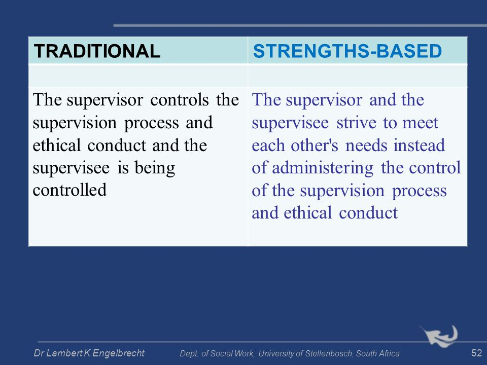 TRADITIONALSTRENGTHS-BASED The supervisor controls the supervision process and ethical conduct and the supervisee is being controlled The supervisor a