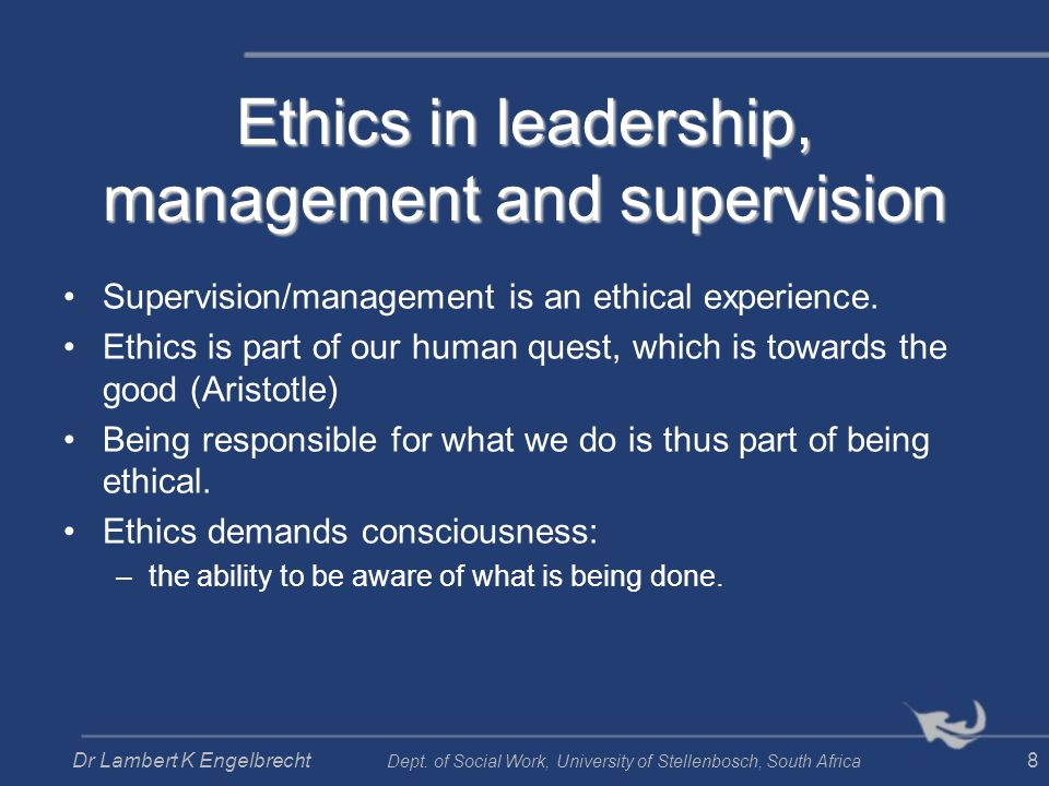 ethical peace and sustainability, implying e.g.: Ethical maturity –Having the reflective, rational, emotional and intuitive capacity to decide whether actions are right and wrong, having the resilience to implement decisions, and being accountable for decisions made.
