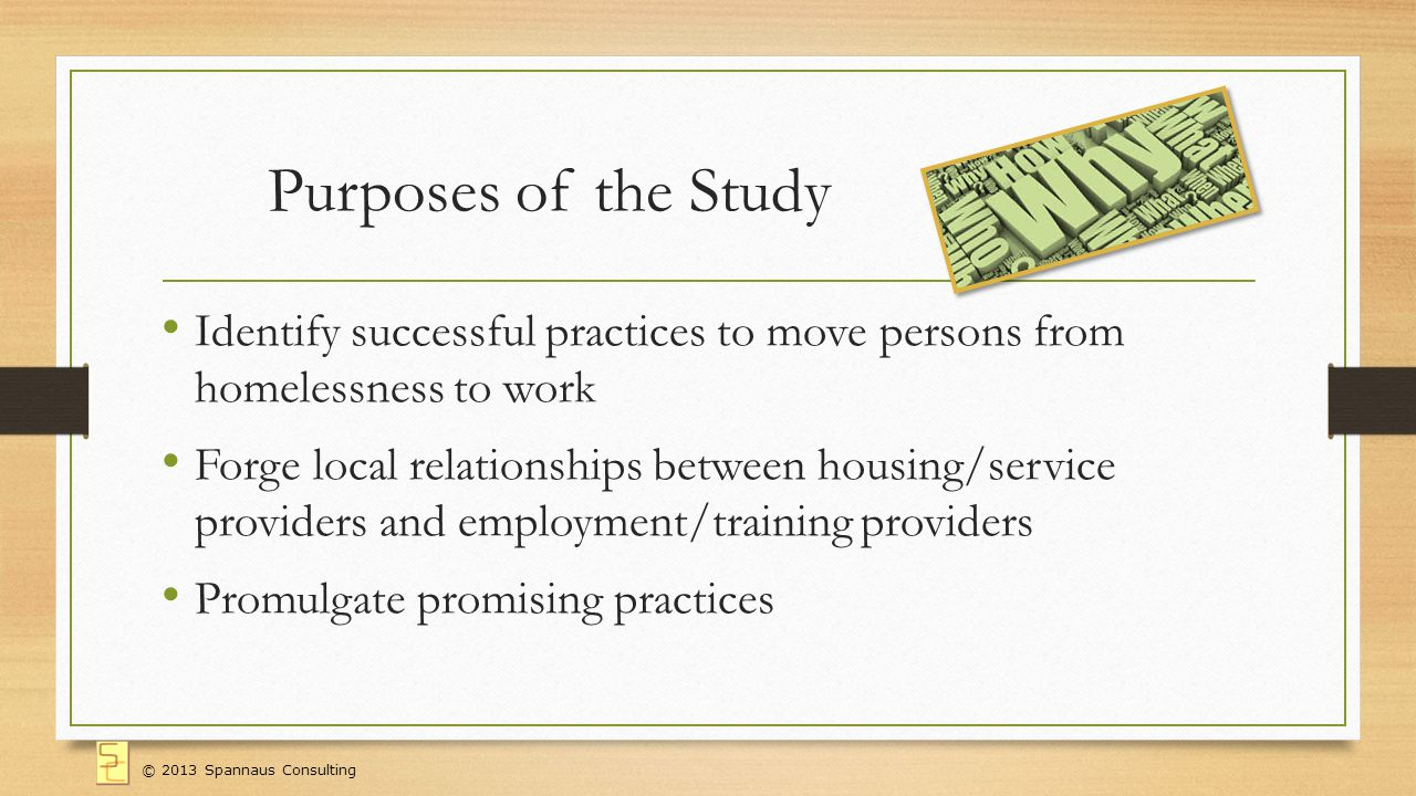 Purposes of the Study Identify successful practices to move persons from homelessness to work Forge local relationships between housing/service providers and employment/training providers Promulgate promising practices © 2013 Spannaus Consulting