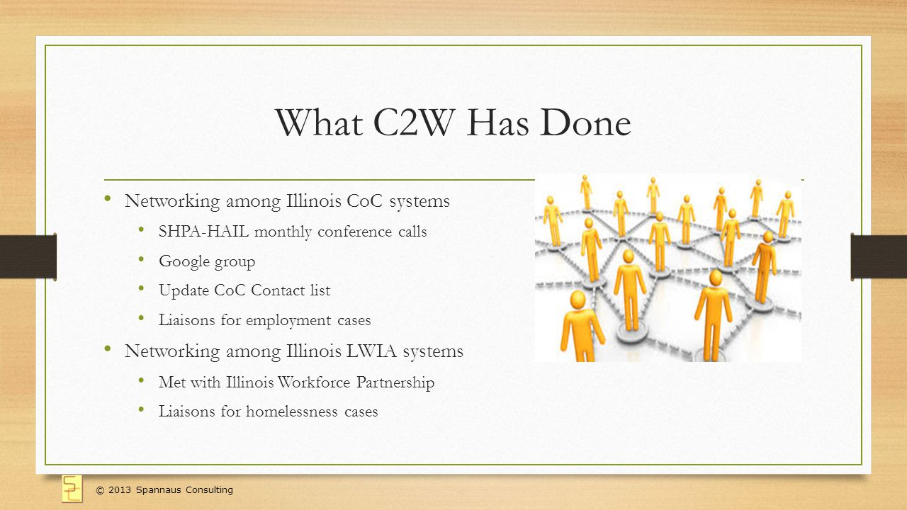 What C2W Has Done Networking among Illinois CoC systems SHPA-HAIL monthly conference calls Google group Update CoC Contact list Liaisons for employment cases Networking among Illinois LWIA systems Met with Illinois Workforce Partnership Liaisons for homelessness cases © 2013 Spannaus Consulting