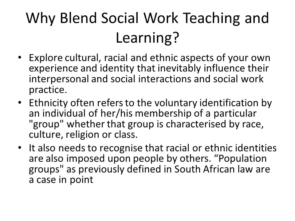 Why Blend Social Work Teaching and Learning.