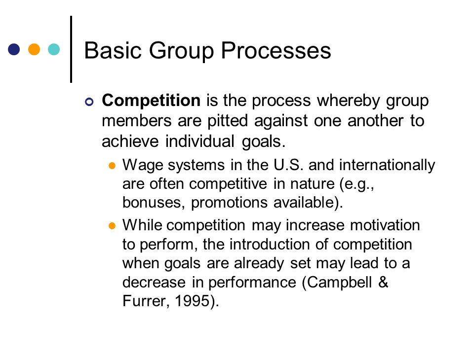 Basic Group Processes Competition is the process whereby group members are pitted against one another to achieve individual goals.