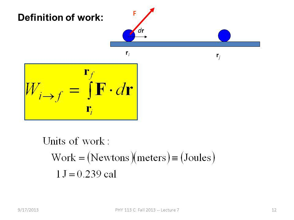 9/17/2013PHY 113 C Fall 2013 -- Lecture 712 Definition of work: F drdr riri rjrj