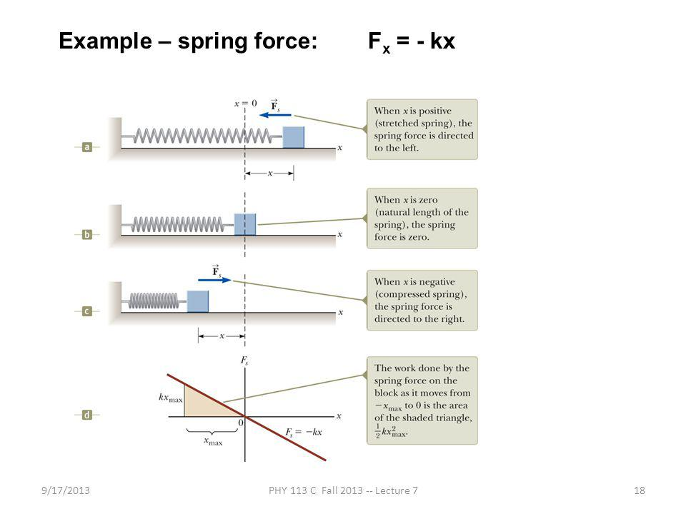 9/17/2013PHY 113 C Fall 2013 -- Lecture 718 Example – spring force: F x = - kx