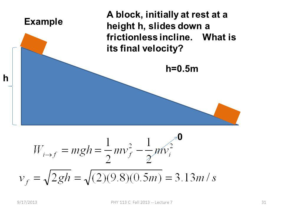 9/17/2013PHY 113 C Fall 2013 -- Lecture 731 Example A block, initially at rest at a height h, slides down a frictionless incline.