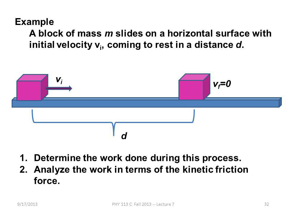 9/17/2013PHY 113 C Fall 2013 -- Lecture 732 Example A block of mass m slides on a horizontal surface with initial velocity v i, coming to rest in a distance d.