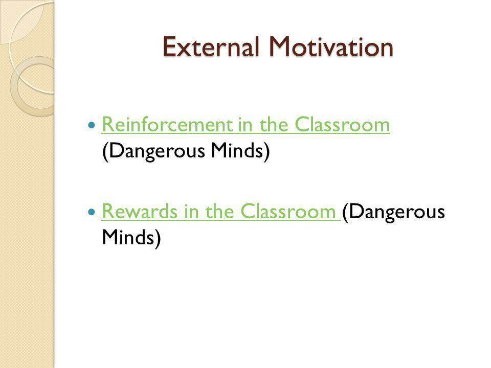 External Motivation Reinforcement in the Classroom (Dangerous Minds) Reinforcement in the Classroom Rewards in the Classroom (Dangerous Minds) Rewards in the Classroom