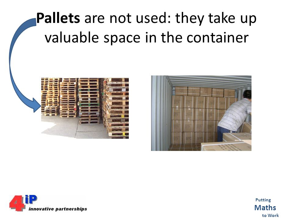 Pallets are not used: they take up valuable space in the container Putting Maths to Work