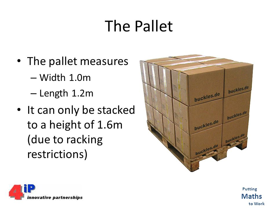 The Pallet The pallet measures – Width 1.0m – Length 1.2m It can only be stacked to a height of 1.6m (due to racking restrictions) Putting Maths to Work