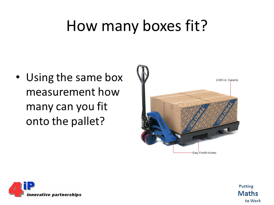 How many boxes fit. Using the same box measurement how many can you fit onto the pallet.