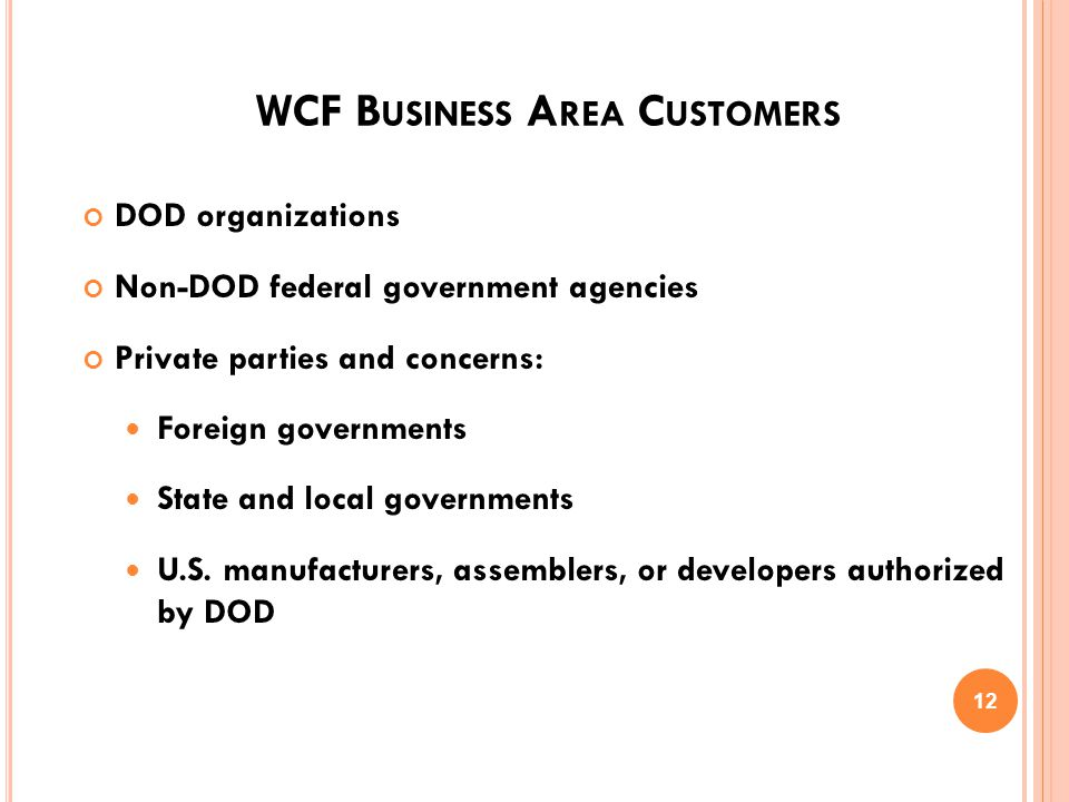 C URRENT WCF S WITHIN DOD Army Working Capital Fund Navy Working Capital Fund Air Force Working Capital Fund Defense Working Capital Fund Defense Commissary Working Capital Fund