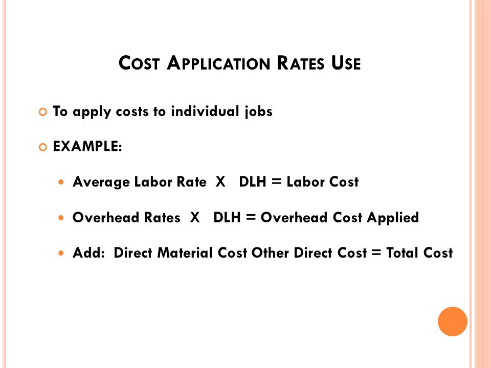 C OST A PPLICATION R ATE Direct labor Salaries and benefits of personnel directly identifiable to a specific job Production overhead expenses Not identifiable to a specific job Within and above shop overhead Mission costs in support of the productive effort General and administrative expenses Not identifiable to a specific job Costs in support of activity 55