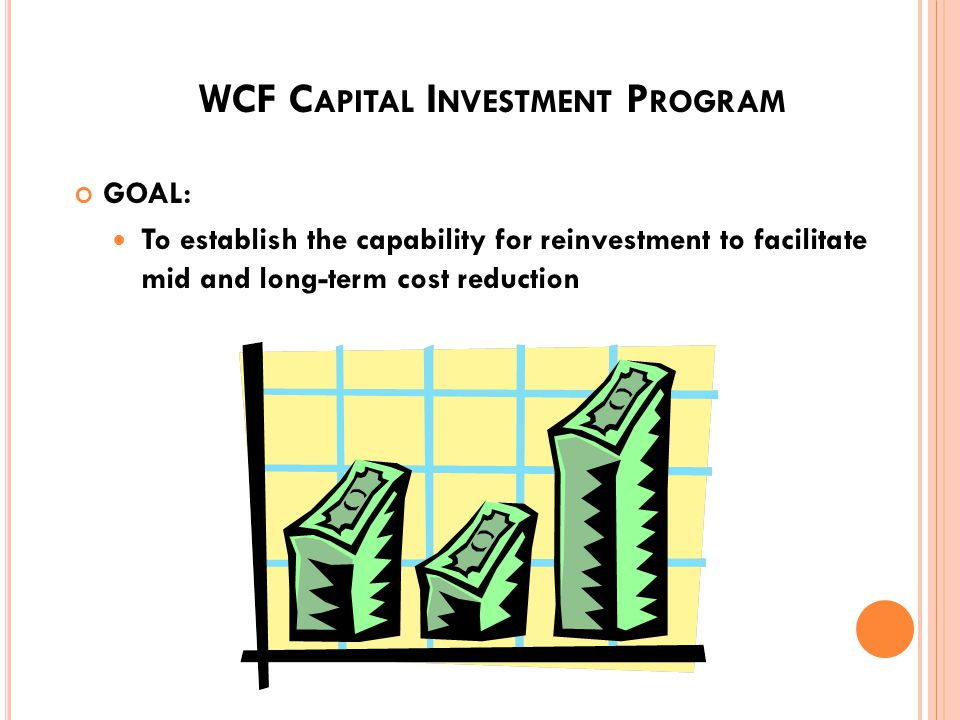 WCF C OST E LEMENTS M INOR C ONSTRUCTION P ROCEDURES Projects costing $100,000 or more but less than $750,000 are funded through the Capital Investment Program (CIP) depreciation The upper limit is increased to $1,500,000 or less for projects impacting health, safety, or environment Projects in excess of $750,000 are funded with the Military Construction Appropriation (MCA) 60