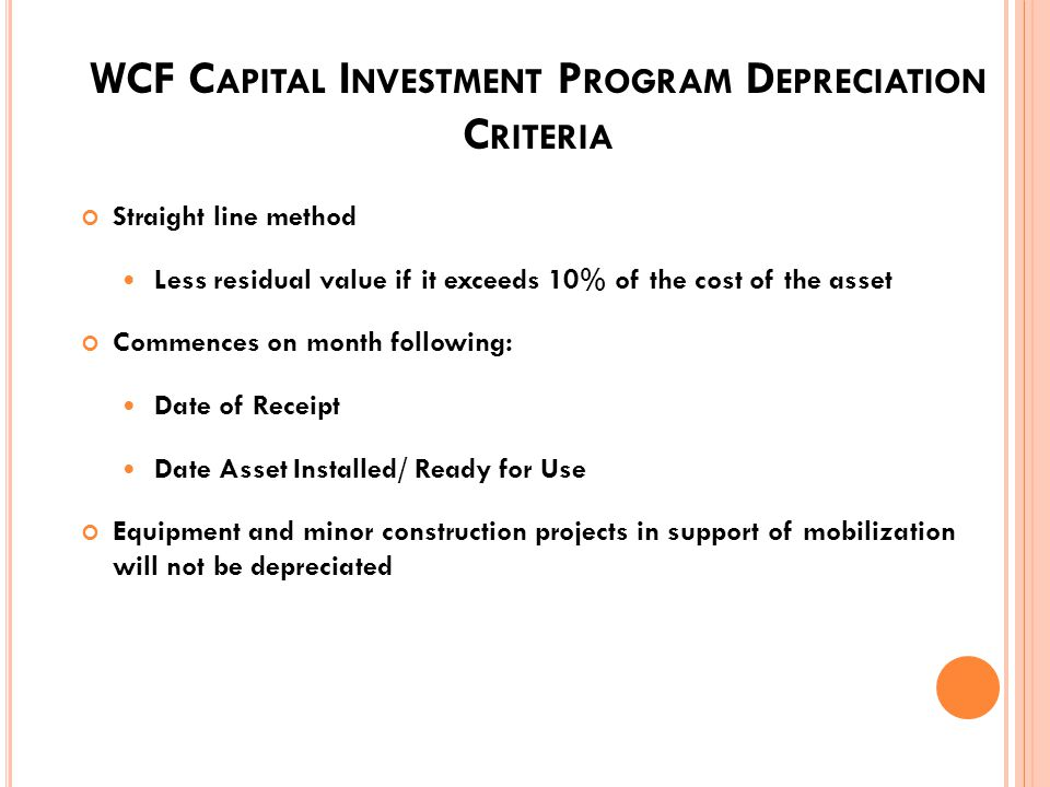 WCF C APITAL I NVESTMENT P ROGRAM P OLICY Managers shall: Identify Prioritize Justify Budget for Capital Assets Only projects in Presidents Budget fin