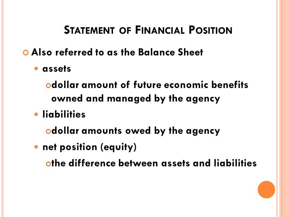 B ASIC F INANCIAL S TATEMENTS Statement of Financial Condition (Balance Sheet) Statement of Net Cost (Income Statement) Statement of Chance in Net Position 72