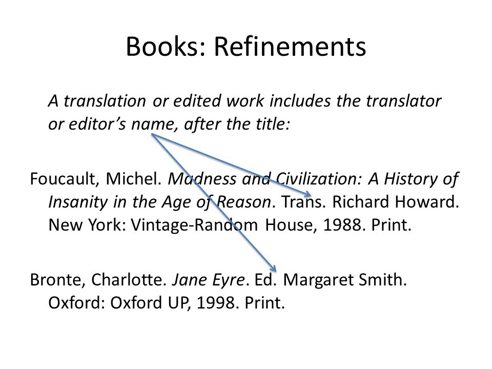 Books: Refinements A translation or edited work includes the translator or editors name, after the title: Foucault, Michel. Madness and Civilization: