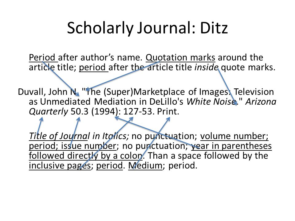 Scholarly Journal: Ditz Period after authors name.