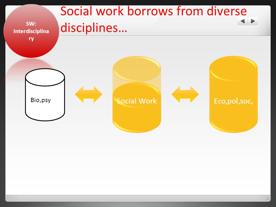 Social work borrows from diverse disciplines… Eco,pol,soc,Social WorkCash Bio,psy