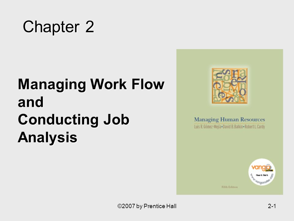 ©2007 by Prentice Hall2-1 Managing Work Flow and Conducting Job Analysis Chapter2 Chapter 2