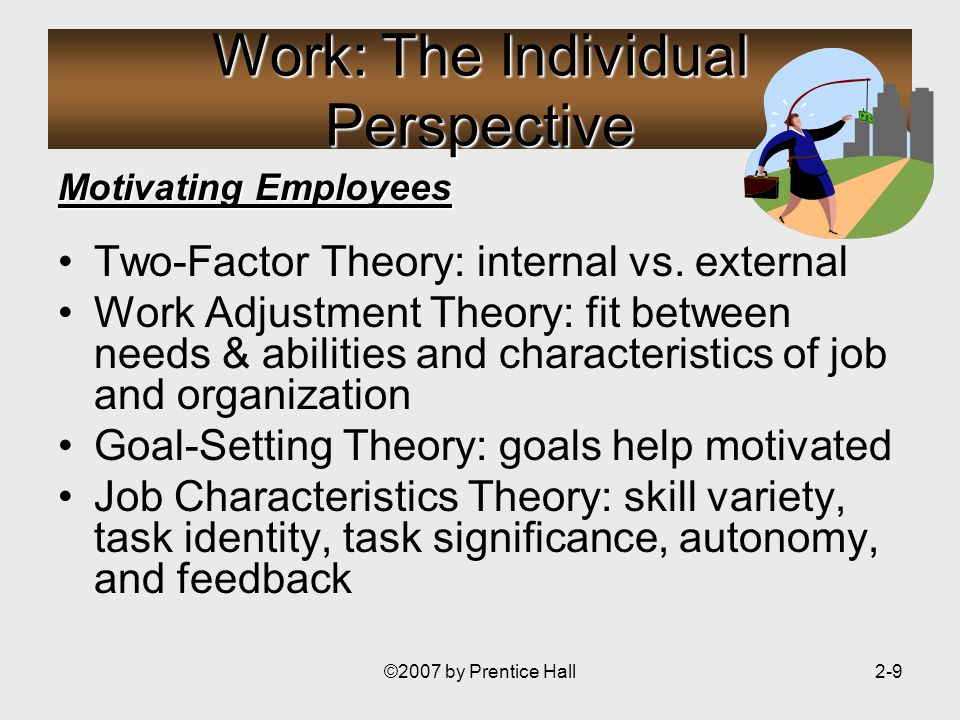©2007 by Prentice Hall2-9 Work: The Individual Perspective Motivating Employees Two-Factor Theory: internal vs.