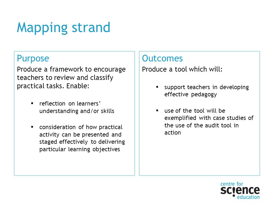 Mapping strand Purpose Produce a framework to encourage teachers to review and classify practical tasks. Enable: reflection on learners understanding