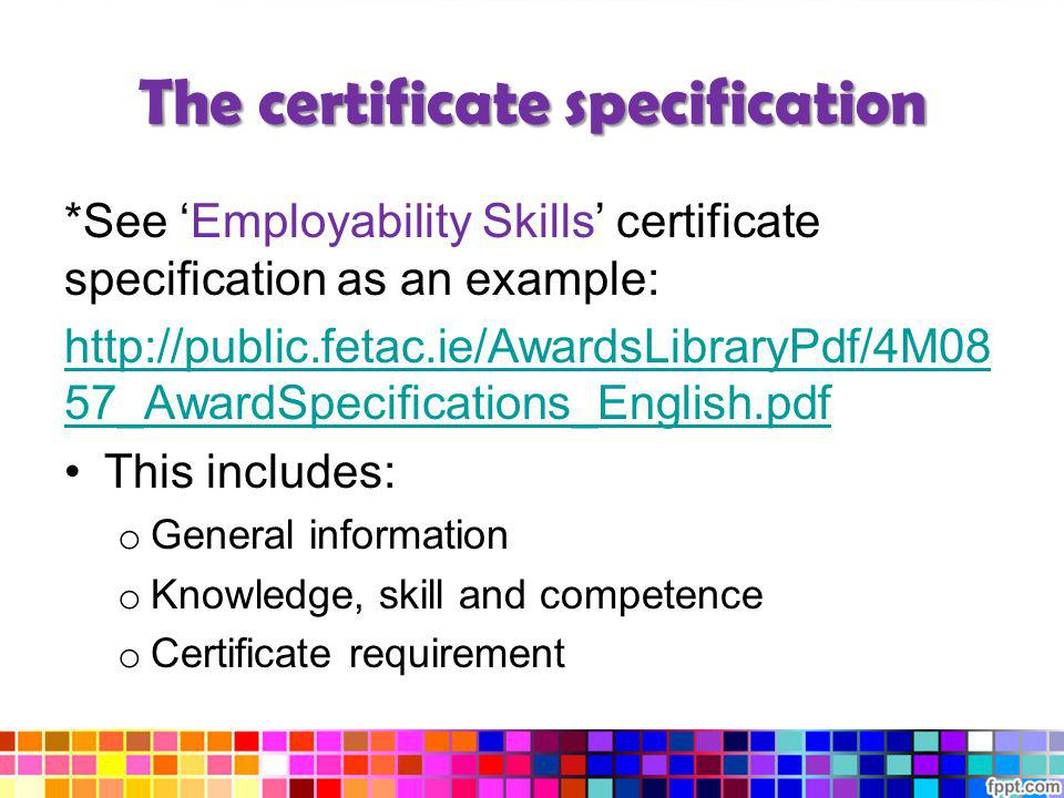 The certificate specification *See Employability Skills certificate specification as an example: http://public.fetac.ie/AwardsLibraryPdf/4M08 57_Award