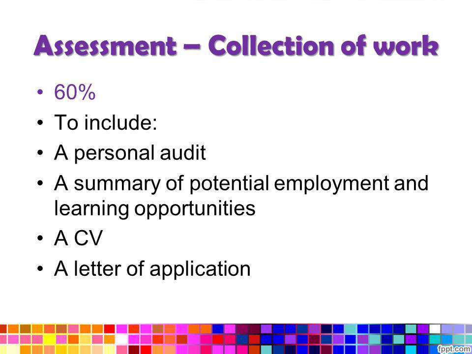 Assessment – Collection of work 60% To include: A personal audit A summary of potential employment and learning opportunities A CV A letter of applica