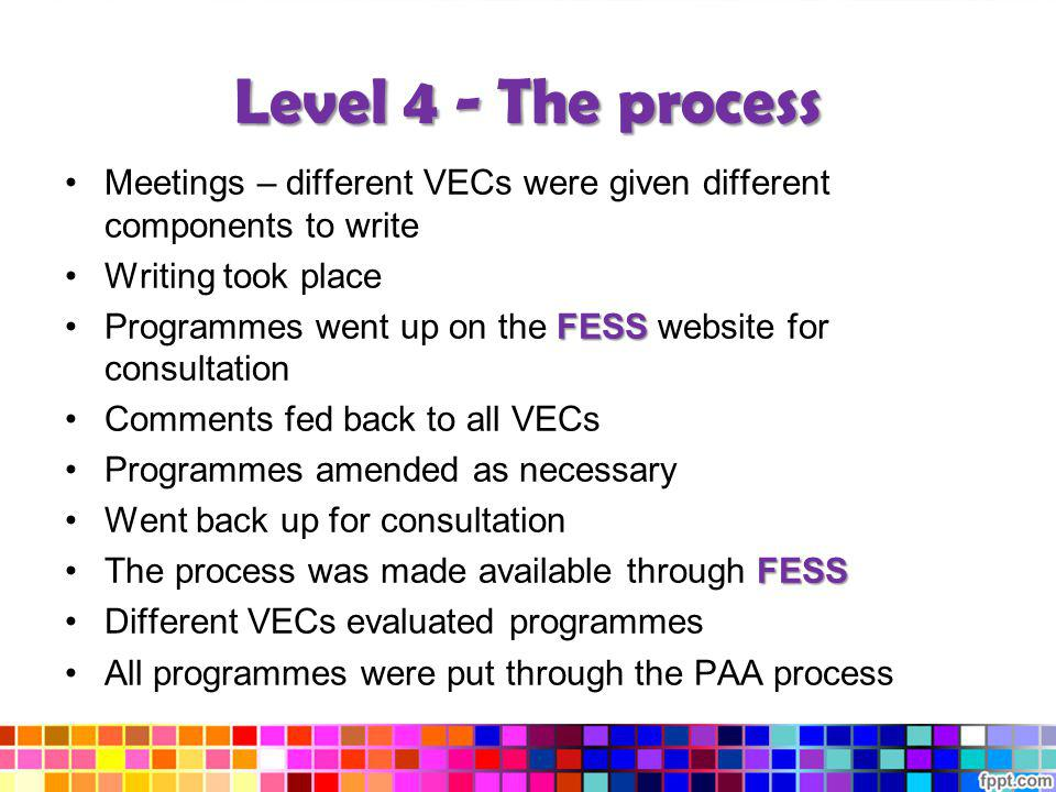 Level 4 - The process Meetings – different VECs were given different components to write Writing took place FESSProgrammes went up on the FESS website