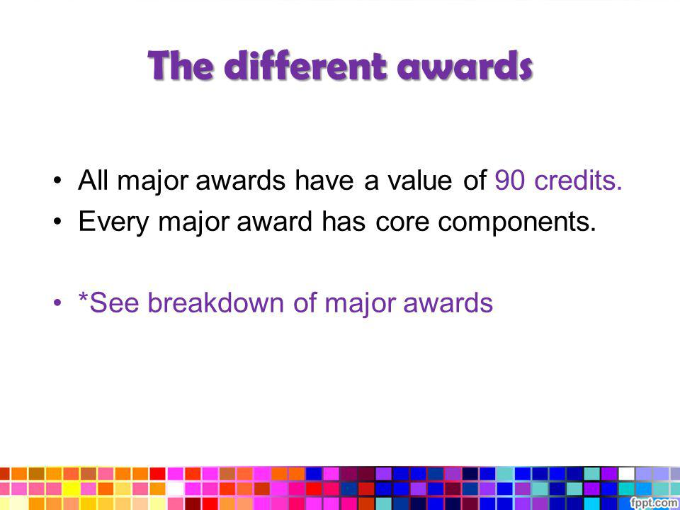 The different awards All major awards have a value of 90 credits. Every major award has core components. *See breakdown of major awards