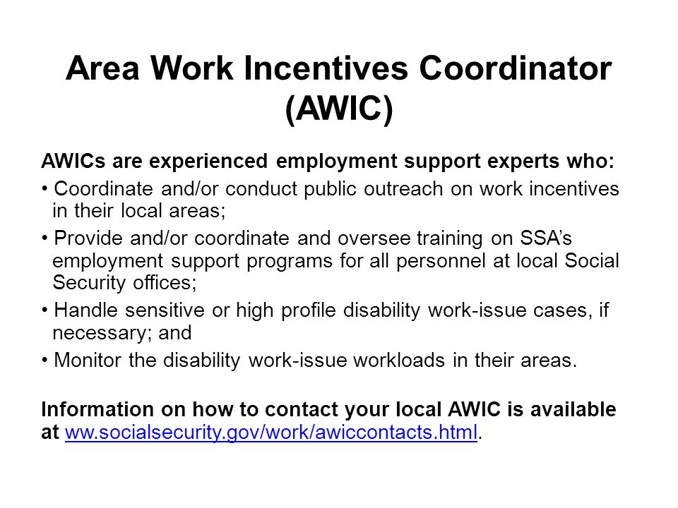 Area Work Incentives Coordinator (AWIC) AWICs are experienced employment support experts who: Coordinate and/or conduct public outreach on work incent