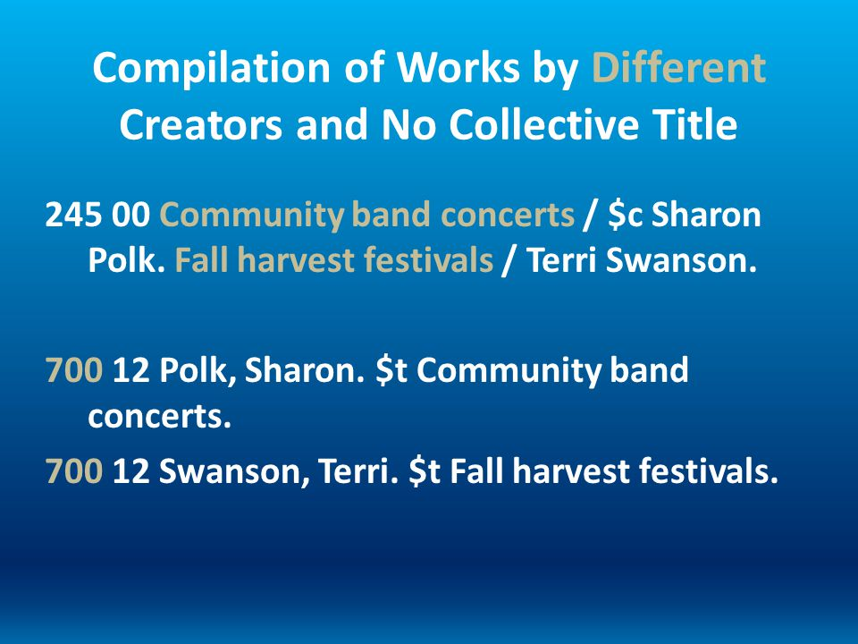 Compilation of Works by Different Creators and No Collective Title 245 00 Community band concerts / $c Sharon Polk. Fall harvest festivals / Terri Swa
