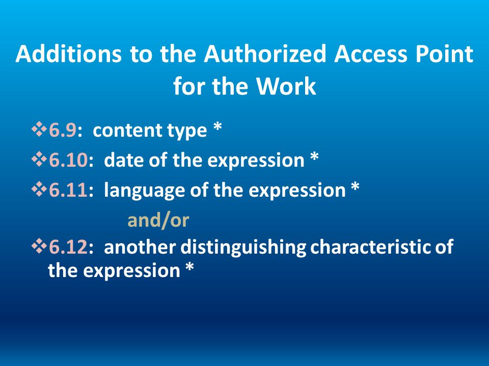Additions to the Authorized Access Point for the Work 6.9: content type * 6.10: date of the expression * 6.11: language of the expression * and/or 6.1